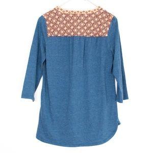 Pixley Tops - Pixley Orange Blue V Neck 3/4 Sleeve Tee Small AB